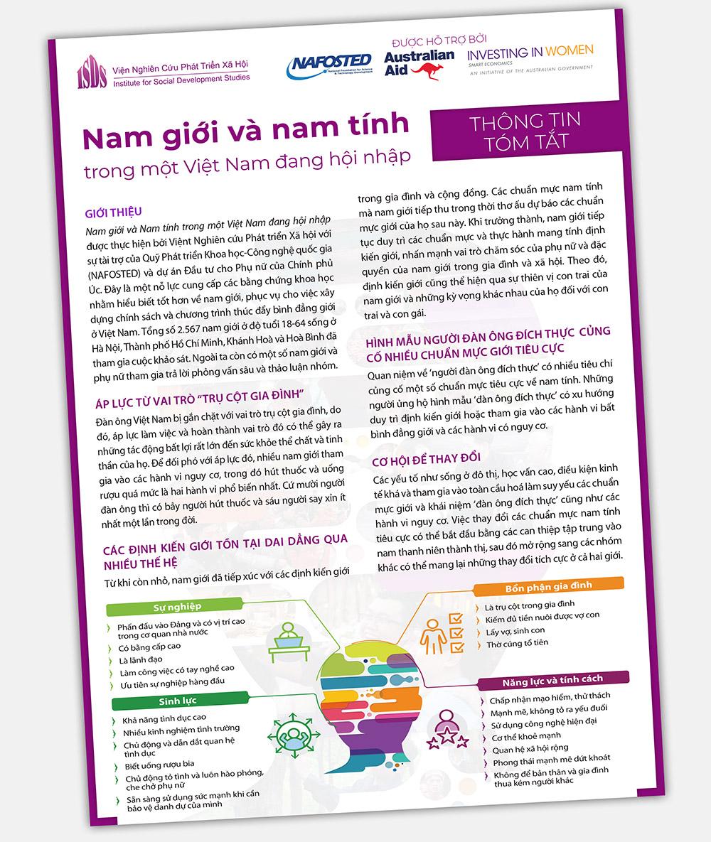 """Thông tin tóm tắt Nghiên cứu """"Nam giới và Nam tính trong một Việt Nam đang hội nhập"""""""